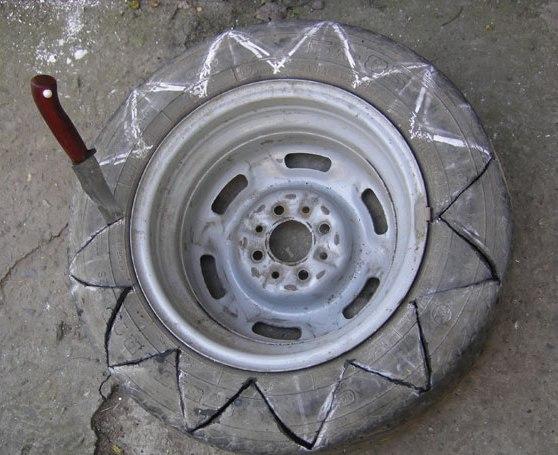 Фото клумбы из колесных шин своими руками фото