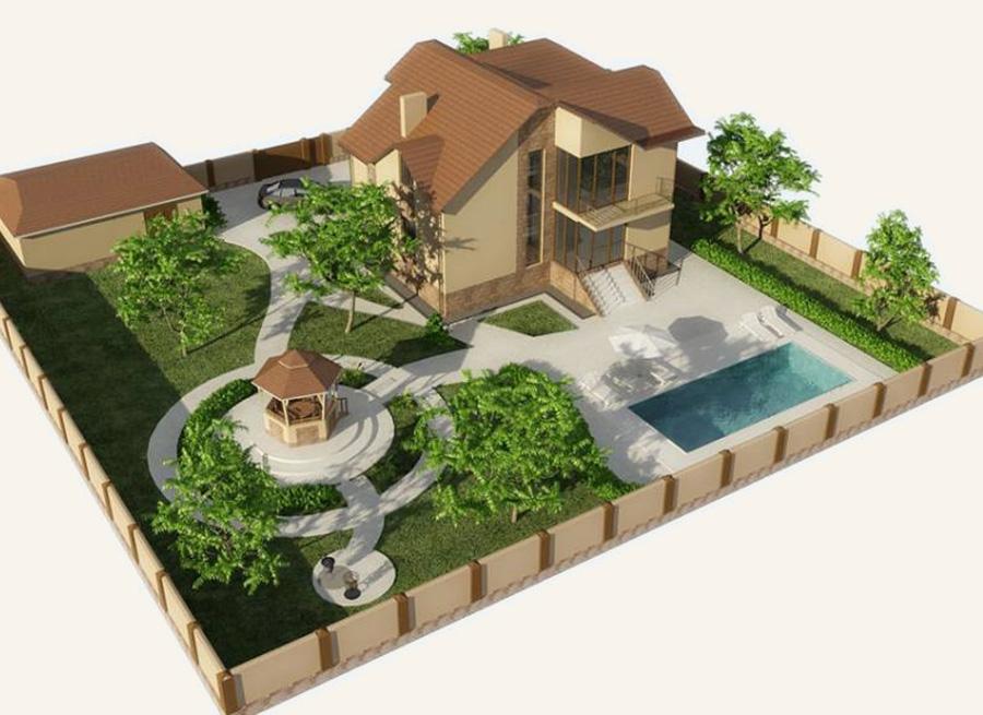 Дом, расположенный на склоне, должен располагаться на верхней его части.  Пример рациональной план-схемы участка...